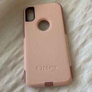 Pink iPhone XS otter box case